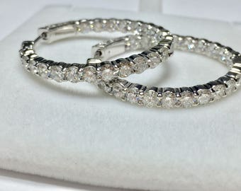 Stunning 5.33CT Diamond Hoop Earrings l 14KT White Gold Diamond Earrings l Diamond Hoops