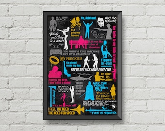 Famous movies quotes poster,digital print,print,movie poster,famous quotes,movie,home decor,silhouette