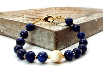 Lapis Lazuli and Creamy White Mother of Pearl Bracelet – Blue and White Bracelet
