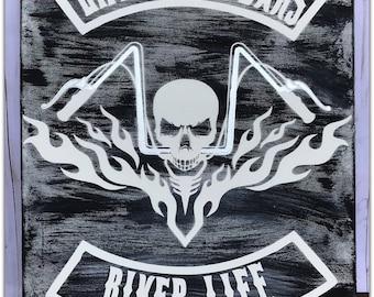 Show Everyone your a PROUD BIKER.   Harley Davidson, Man Cave, Biker Gift, Biker Life, Motorcycle, Biker Chick, Biker Quotes, Skull, Biker