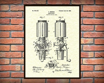 Patent 1900 Coffee Mill - Arcade Crystal Coffee Grinder - Wall Art Print - Kitchen Art- Poster - Restaurant Wall Art - Coffee Shop Wall Art