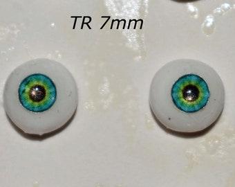 Hand Made Glass Like Eyes 7mm - Turquoise Fairy - for OOAK Art -Dolls