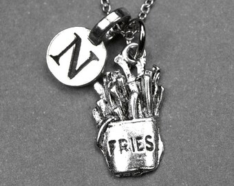 French fries necklace, french fries charm, fries necklace, fries charm, french fries potatoes, personalized necklace, initial charm, letter
