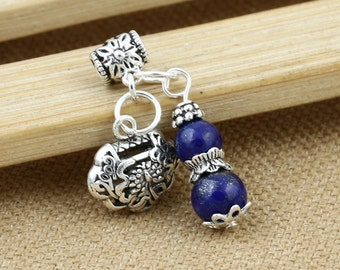Bali Sterling Silver Charms Antique Oxidized Pendants With Lapis Lazuli Beads Gourd Beads S248