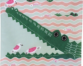 Birds Cleaning the Teeth of Crocodile Pink  Japanese Furoshiki Wrapping Cloth 50x50cm Small size (20011-106) Price depends on order total.