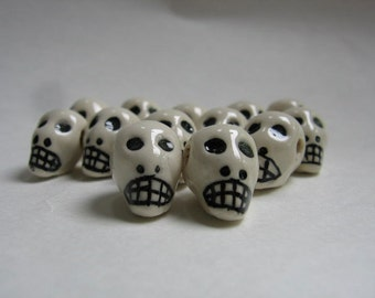 6 White Peruvian Ceramic Skull Beads with Large Horizontal Holes 16mm