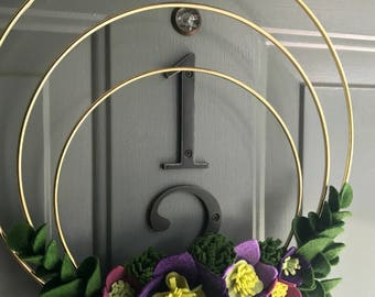 Felt Brass Hoop Floral Wreath Handmade Door Wall Decoration - Grape 12in