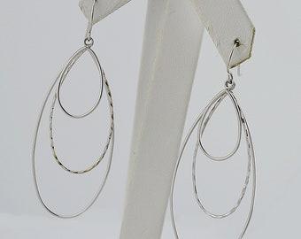 18k White Gold Estate Tri/Triple Hoop Dangle/Drop Earrings