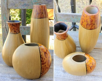 """Vintage Set of 3 Tribal Boho Style Wood VASES for Dry Flowers, Sticks, Twigs, Etc. measuring 11.75"""", 9"""", and 5.5"""" Tall ~ Boho Hippie Decor ~"""