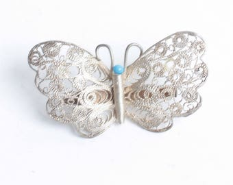 Silver Filigree Butterfly Pin Turquoise Accent Vintage
