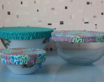 Set of three Bowl covers in turquoise blue fabric