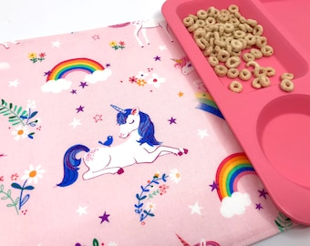 Pink Unicorn Placemat (Washable Placemat, Gift Under 20, Easter Gift For Girls, Blue Unicorn, Fabric Placemat Kids, Rainbow Place Mat)