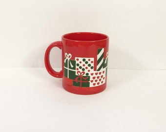 Vintage 1980's Red Waechtersbach Germany Mug with Presents Motif
