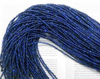 "3mm natural Lapis Lazuli round beads, 16"" strand long"