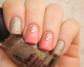 2mm gold metal square nail studs/ Gold nail art rivets/ Metal nail decorations/ Gold square studs/ Nail art supplies/ Nail decor