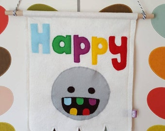 Happy pennant- happy flag- kids pennant-kids wall decor