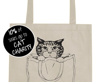 Unexpected Item in Bagging Area: tabby cat tote bag - plastic free - reusable shopping bag