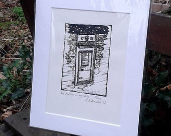 The Postbox in my Wall - limited edition lino print