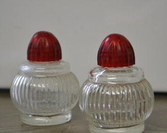 Vintage Salt & Pepper Shaker Set with Red Lids