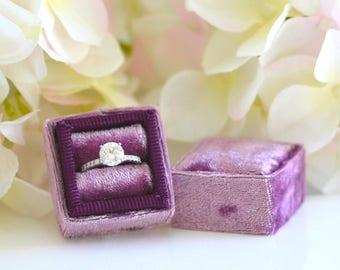 Plum Purple Vintage Inspired Velvet Ring Box Grossgrain Ribbon Handmade for Wedding Rings, Engagement Rings, Fine Jewelry