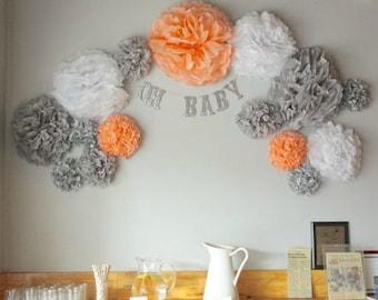 "Pompoms 15 ( 14""-6"")paper flower, flower balls, wedding decoration, decoration, paper flower poms, baby shower, engagement party decorations"
