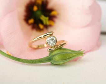 Moissanite Engagement Ring in 14k Yellow Gold // asymmetrical band // conflict free //  Eco Friendly recycled gold