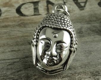 Sterling Silver Buddha Head Pendant - Artisan Sterling Buddha - Yoga Jewelry - Silver Buddha Pendant - Sterling Silver Buddha Pendant