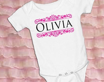 Filagree Personalized White onsie Snap bottom all in one bodysuit