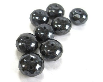 Nearly Black Dark Gray Beads, 9mm x 6mm Rondelles, Faux Hematite Gemstone, Fire Polished Faceted Czech Glass Stone, Deep Grey 8 Pieces SP119