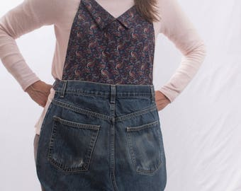 paisley apron, dark blue apron, full apron, denim apron, upcycled apron, apron with pockets, gift for wife, gift for mom, kitchen apron,