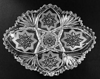 Small Oval Brilliant Cut Glass Serving Dish Relish Dish Decorative Crystal Dish Candy Bowl