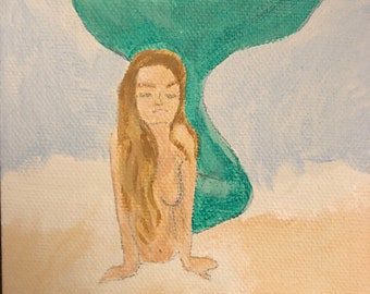 Mermaid painting canvas magnet