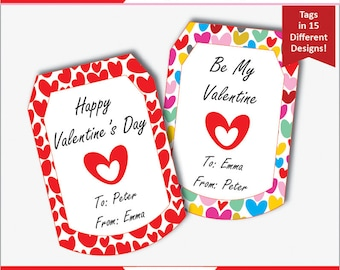 Valentines Day Gift Tags - Valentines Tags Personalized - Printable Valentines Tags - Valentines Day Labels Personalized (Instant Download)