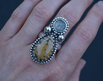 Moonstone Jasper Ring, Ocean Jasper, Peach Moonstone, Jasper, Moonstone, Sterling Silver, Ocean Jasper Ring, Statement Ring