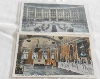 2- West Baden, Indiana Interior Postcards Hotel and Springs No. 7