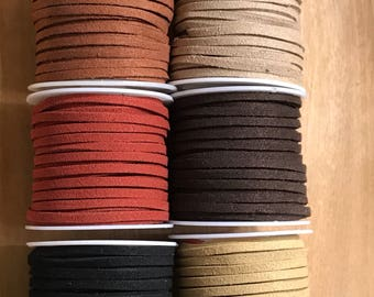 Faux Suede cord, , 3mm faux jewelry cord, 2 sided soft flat cord, suede lace, leather cord for jewelry , 5 yards per roll, choose you color