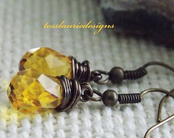 Amber Teardrop Earrings Topaz Earrings Orange Wedding Jewelry Bridesmaids Jewelry Spring Jewelry Easter Jewelry Any Occassion Jewelry