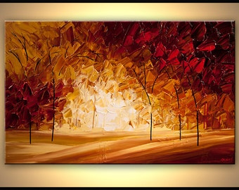 "Red Landscape Blooming Trees Painting Original Abstract Modern Palette Knife by Osnat - MADE-TO-ORDER - 48""x30"""