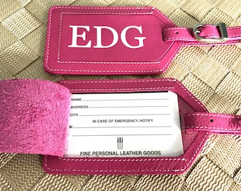 Luggage tag, personalized luggage tag, monogram luggage tag, luggage tags personalized, custom luggage tag, leather wedding gift hot pink