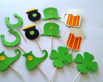Saint Patrick's day cupcake toppers, cake decorations, St patrick set 12 pieces