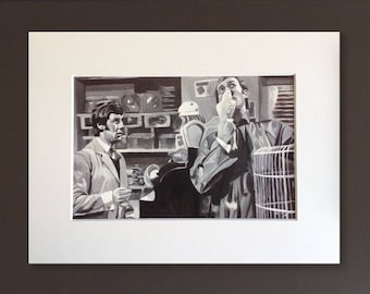 MONTY PYTHON wall art - giclee print of 'Hello Polly!' acrylic painting by Stephen Mahoney - fine art featuring the Parrot sketch