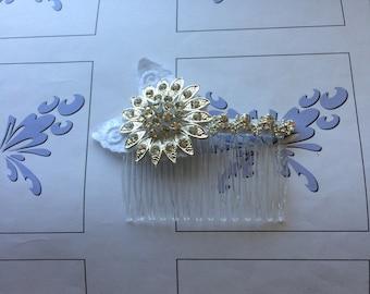 Sunflower Comb, Rhinestone Bridal Silver Hair Combs Wedding Hair Jewelry, Flower Combs