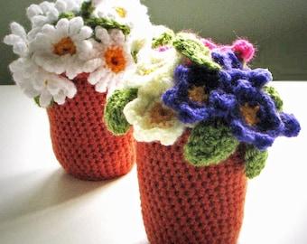 Flowerpots: Crochet pattern for Daisy and Primula / Primrose Flower pots - INSTANT DOWNLOAD pdf