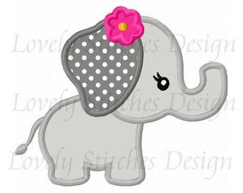 Cute Animal Girl Elephant Applique Machine Embroidery Design NO:0540