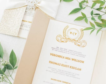 Gold Glitter Wedding Invitation Card/Great Gatsby Invitation Card/Quinceanera Invite/Sweet 16 Invitation/Bat Mitzvah/Art Deco/Menu/Reception