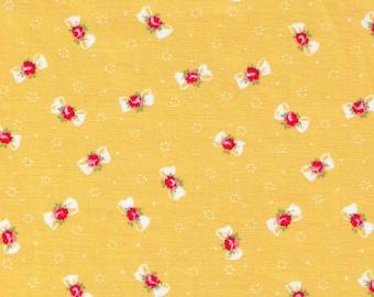 HALF YARD Yuwa - Petite Bows and Flowers on Yellow  - Atsuko Matsuyama - Mini Ribbon - Japanese Import Fabric