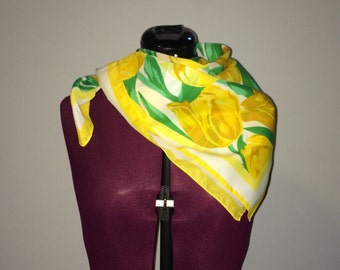 Vintage Yellow Tulip 100% Polyester Made in Italy Scarf