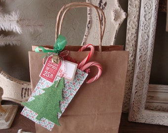 Christmas gift bag paper sack gift pocket JOY Christmas party favor bag Christmas gift card holder paper treat container gift wrap