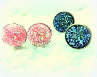 Earrings Druzy set fairy dust