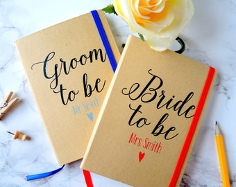 Personalised Bride to be and Groom to be wedding planner notebooks